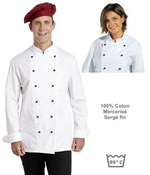 Veste de cuisine, 100% coton sergé fin, Poche poitrine, Larges manchettes à revers.