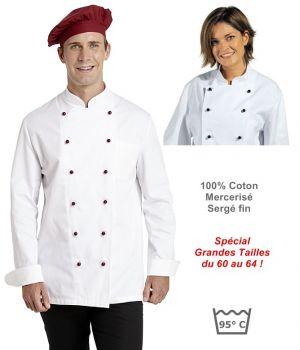 Veste de cuisine Grandes tailles, 100% coton sergé fin, Poche poitrine