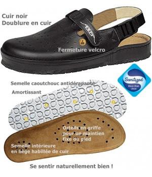 Chaussures confort, Dessus cuir, première en liège habillée de cuir, antidérapantes, noir