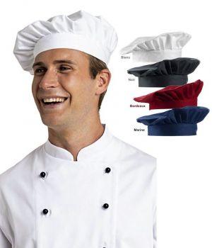 Toque chef, Coiffe de cuisinier avec bande élastique, Taille universelle