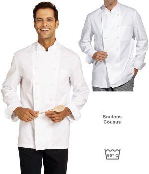 Veste de cuisine, Boutons blanc cousus, 100% coton sergé, Poche poitrine