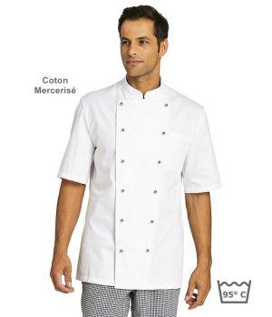veste de cuisine manches courtes 100 coton merceris serg fin poche cousue sur poitrine. Black Bedroom Furniture Sets. Home Design Ideas