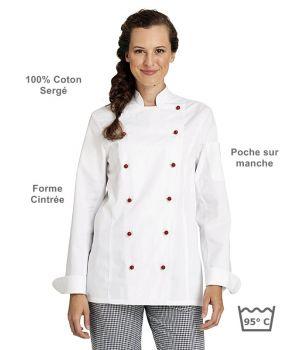 Veste de cuisine femme, manches longues,forme cintrée, coton sergé, peut bouillir