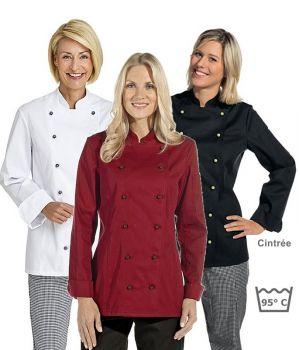 Veste de cuisine femme manches longues cintrée, poche sur la manche