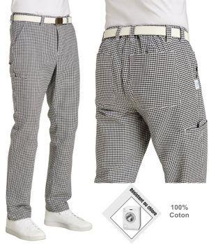 Pantalon de cuisine, Zone Stretch au niveau de la ceinture, Blanc et Noir pépita