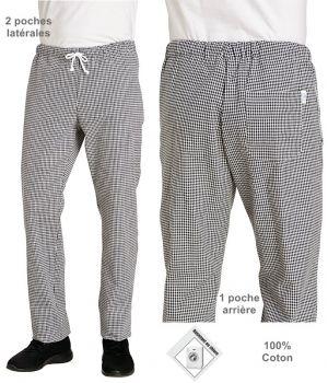 Pantalon de cuisine, Pépita, Homme ou Femme, Taille élastiquée, Poches