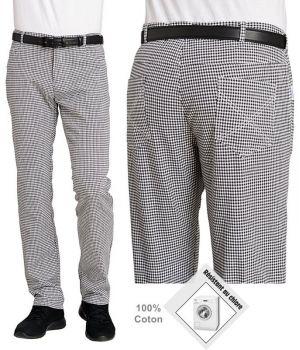 Pantalon de cuisine, forme Jean, Peut bouillir, résistant au chlore, noir et blanc