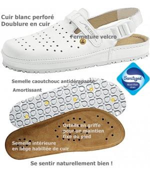 Chaussures confort, Dessus cuir, première en liège habillée de cuir, antidérapantes, blanc