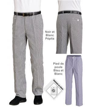 Pantalon Cuisine Homme et Femme, 100% Coton, Taille Elastiquée au Dos
