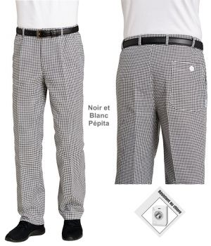 Pantalon cuisine mixte coton, grande taille, ceinture élastiquée