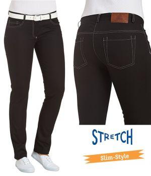 Pantalon noir femme, 5 poches, Surpiqures grises argentées, Coupe slim