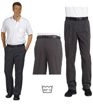 Pantalon de cuisine ou de service, fines rayures tissées, noir et blanc