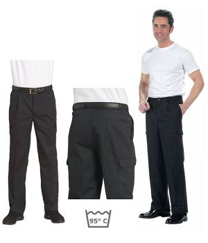 Pantalon cargo homme, PolyCoton, noir, 6 poches, entretien facile
