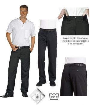 Pantalon noir homme, confortable à la ceinture, peut bouillir