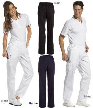 Pantalon unisexe, Taille élastiquée, poches latérales, poche cuisse, poche arrière