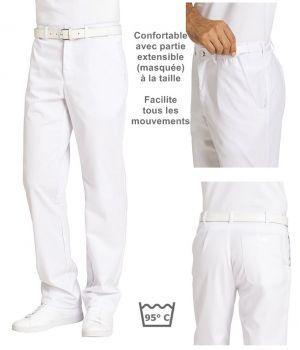 Pantalon blanc homme, entretien facile, taille élastiquée confortable