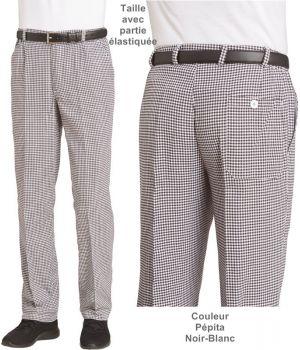 Pantalon de Cuisinier, Pantalon Boulanger, Pépita Noir-Blanc, Coton