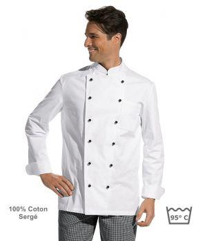 Veste de cuisine, manches longues, 100% coton, boutons boule