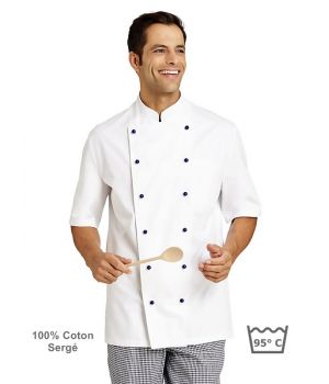 Veste de cuisine, manches courtes, 100% coton sergé fin, boutons boule