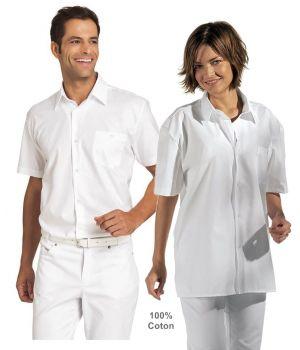 Chemise Homme, Chemisier Femme, Manches Courtes, Blanc, Coton