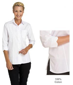 Chemisier Femme, Blanc, Manches 3/4, 100% Coton, Poche Poitrine