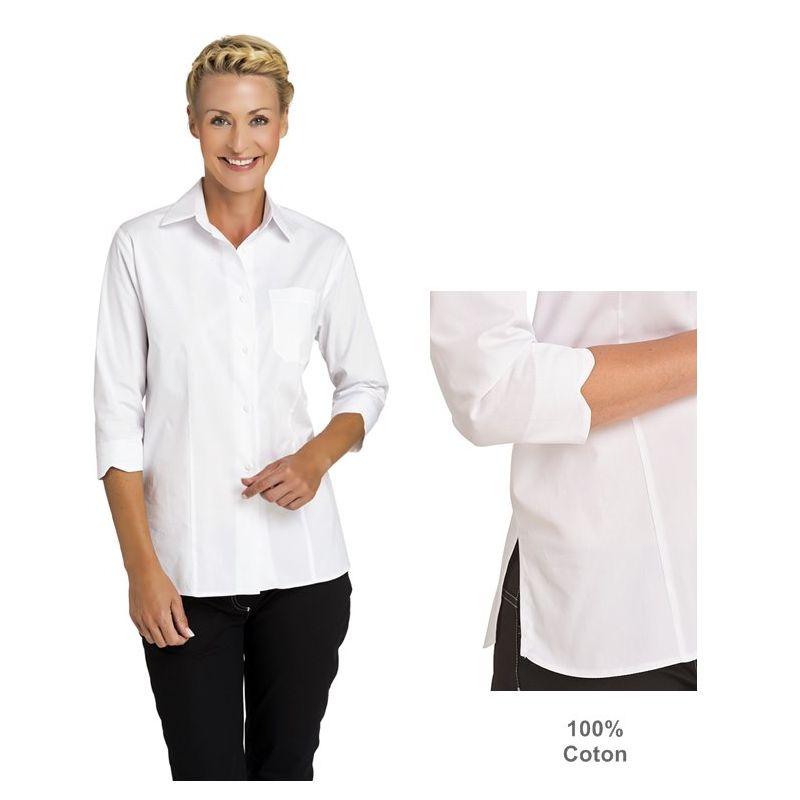 Chemisier femme manches 100 coton - 3 suisses blanc soldes ...