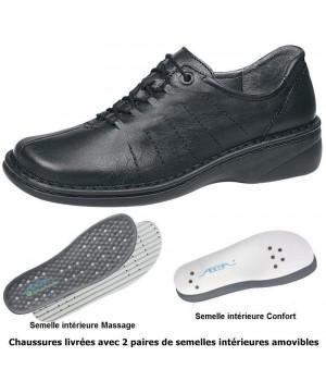 Chaussures Reflexor® femme, semelle massante, cousu main, Cuir, noir