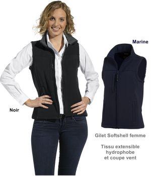 Gilet Softshell femme, Tissu extensible hydrophobe et coupe vent