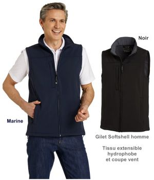 Gilet Softshell homme, Tissu extensible hydrophobe et coupe vent