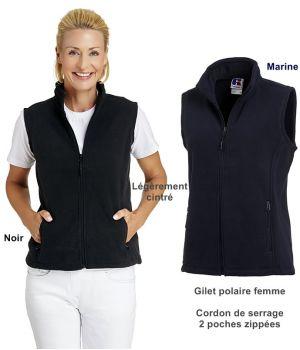 Gilet polaire femme, Cordon de serrage, 2 poches zippées, Légèrement cintré