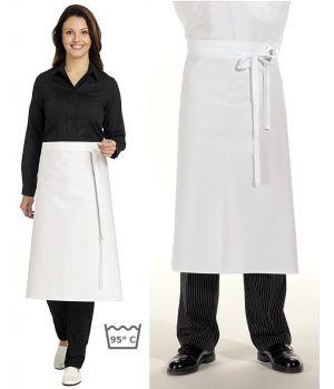 Tablier restaurant, bar, bistro, hauteur 80 cm, blanc coton
