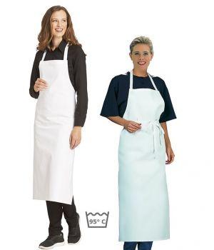 Tablier cuisine à bavette restaurant, bistro, blanc, coton Sergé