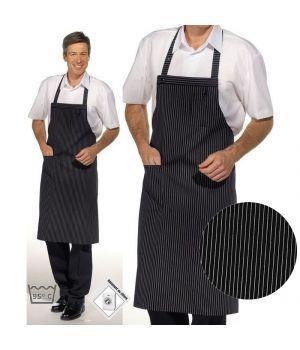 Tablier cuisine à bavette, 1 poche plaquée, 1 pochette poitrine, Fermeture réglable par Bouton-pression aux bretelles