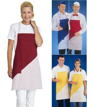 Tablier à Bavette Cuisine ou Service, Couleur Unie et Rayures