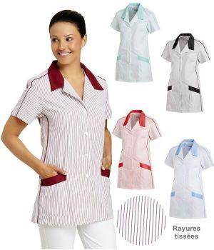 Blouse de travail femme manches courtes, Patte de boutonnage avec Bouton-pression, Rayures tissées