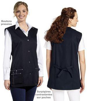 Blouse courte sans manches, Boutons pression, Surpiqûres contrastantes sur les poches