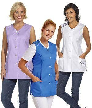 Blouse courte sans manches, pour femme, joli passepoil de couleur aux poches et aux épaules