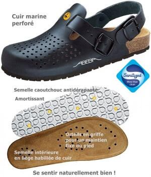 Chaussures de travail, Dessus cuir, semelle intérieure liège, antidérapantes, Marine