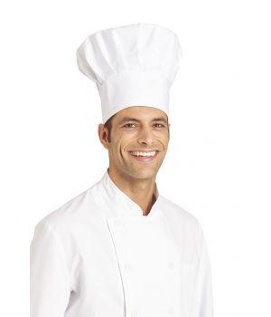 Toque cuisine Chef, bride auto-agrippante, Blanc, 100 % coton