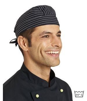Bandana restauration, serveur, rayures noir et blanc, Lavable à 95°C
