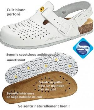 Chaussures de travail, Dessus cuir, semelle intérieure liège, antidérapantes, Blanc