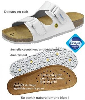 Chaussures de travail, Sandales confort, Dessus cuir, semelle intérieure liège, antidérapantes, Blanc