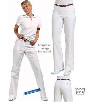 Pantalon blanc femme, 2 poches côté, 2 poches au dos, Entretien facile, peut bouillir