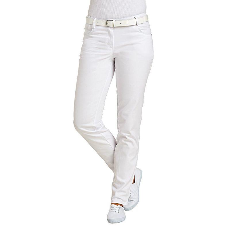 Pantalon blanc femme, coupe Jeans, tissu extensible Stretch, rivets 2cced388d3cb