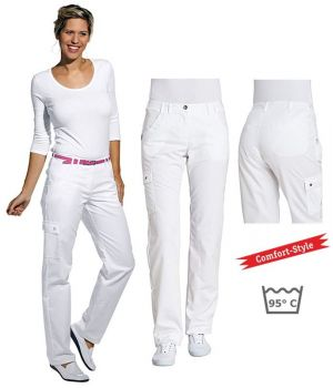 Pantalon blanc femme, 2 poches devant ornées, 2 poches arrière, confortable à la ceinture, peut bouillir