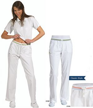 Pantalon blanc femme, Cordon à nouer, peu froissable, entretien facile
