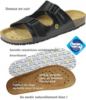 Chaussures de travail, Sandales confort, Dessus cuir, semelle intérieure liège, antidérapantes, noir