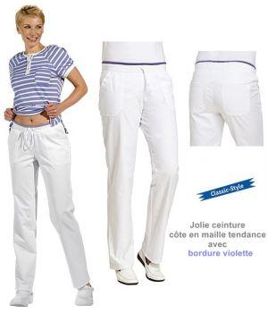 Pantalon blanc femme, Jolie ceinture côte en maille tendance