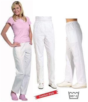 Pantalon blanc femme, Confort et Style, Taille élastiquée confortable, coton sergé