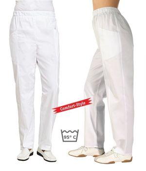 Pantalon blanc, femme, 100% coton sergé fin, taille élastique, Style confort
